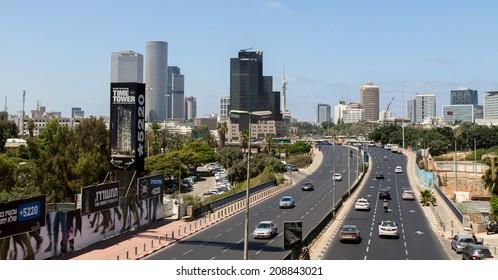 TEL-AVIV, ISRAEL - JULY 03, 2014: Traffic on Derech Menachem Begin