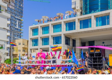 TEL-AVIV, ISRAEL - JUNE 09, 2017: Dancers on a truck entertain the crowd during the annual pride parade of the LGBT community, in the streets of Tel-Aviv, Israel