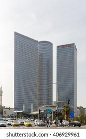 TEL-AVIV, ISRAEL - MARCH 24, 2016: Azrieli Center in Tel Aviv view from west side