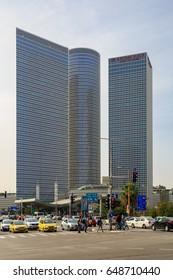 TEL-AVIV, ISRAEL - MARCH 24, 2016: Three buildings of Azrieli Center in Tel Aviv