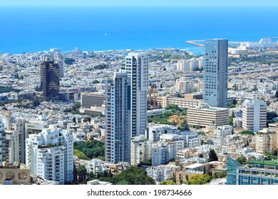 TEL-AVIV, ISRAEL - MAY 22 : Tel-Aviv city coastline view from above. Mediterranean, Israel on May 22, 2014 in Tel-Aviv, Israel