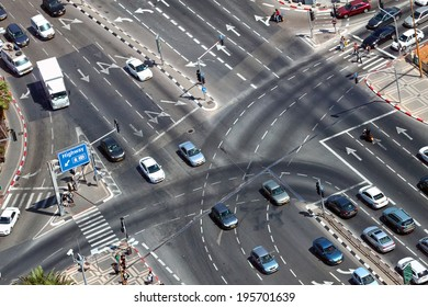 TEL-AVIV, ISRAEL - MAY 22 : Overhead view of urban intersection with exit to highway