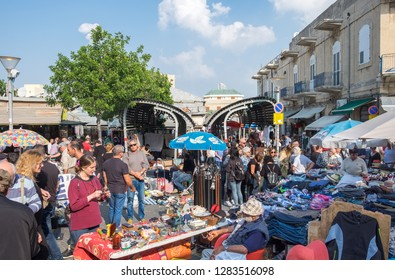 TEL-AVIV, ISRAEL - NOVEMBER 30, 2018: The old Jaffa Flea Market (Shuk Hapishpishim) at Tel Aviv