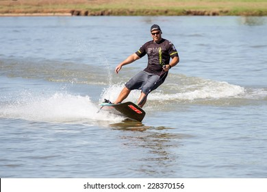 TEL-AVIV, ISRAEL - OCTOBER 25: An unidentified participant shows his skills during Israel Waterski and Wakeboard competition cup on October 25, 2014 in Tel-Aviv, Israel.