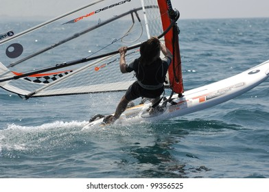 TEL-AVIV, ISRAEL-APRIL 4: Participants compete in the  Israel Youth Championship of Yacht & Windsurfing 2012 on April 2-4, 2012 in Tel-Aviv, Israel