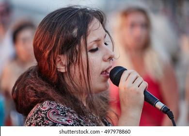 Tel-Aviv - June 15, 2016: Members of the Hare Krishna group dance and chant in Israel, Tel Aviv