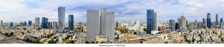 TEL-AVIV - MARCH 2019: Tel-Aviv Skyline with iconic buildings