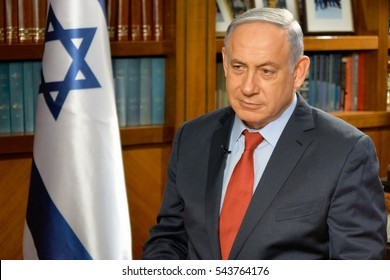 TEL-AVIV,ISRAEL/JUNE 06,2016: Prime Minister of Israel Benjamin Netanyahu during the interview with Russian television