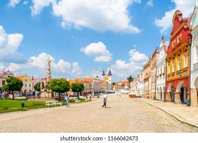 TELC, CZECH REPUBLIC - 31 MAY, 2018: Zachary of Hradec Square. Central square with colorful renaisance houses in Telc, Czech Republic.