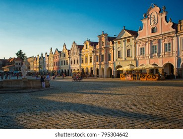 TELC, CZECH REPUBLIC - 7 AUGUST, 2017: Central square with medieval houses in Telc in summer, Czech Republic on 7 August, 2017.