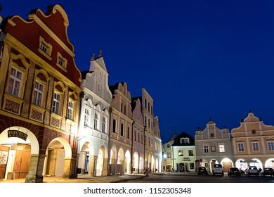 Telc, Czech Republic -August 1st, 2018: Historical square with renaissance houses in Telc after dark, Unesco World heritage site