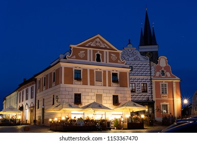 Telc, Czech Republic -August 1st, 2018: Historical square of Zacharias from Hradec with tower in Telc after dark, Unesco World heritage site