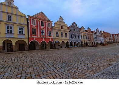 Telc, Czech Republic- AUGUST 25, 2018: Wide angle landscape view of renaissance and baroque colorful houses at the main square in medieval Telc. A UNESCO World Heritage Site.