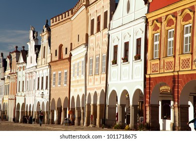 TELC, CZECH REPUBLIC, AUGUST 28 2015 - Panoramic view of Telc or Teltsch town square with renaissance and baroque colorful houses, UNESCO town in Czech Republic