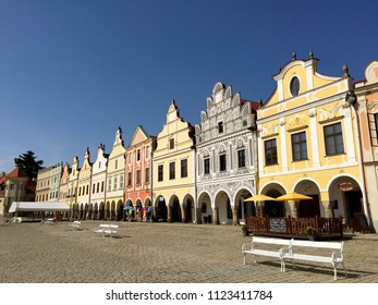 TELC, CZECH REPUBLIC - AUGUST 31, 2017: Colorful sixteenth-century Renaissance and Baroque houses in the main square of Telc, Czech Republic