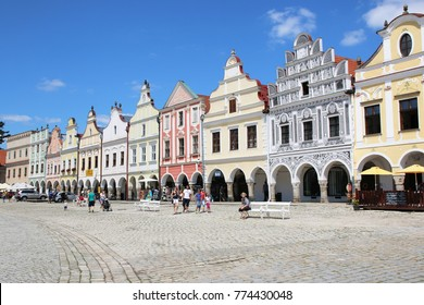 Telc, Czech Republic - August 7, 2017: Colorful architecture at the main square of the historical town of Telc in southern Moravia, Czech Republic.