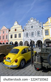Telc, Czech Republic - March 27, 2016: Renaissance houses on the colorful main square protected by UNESCO
