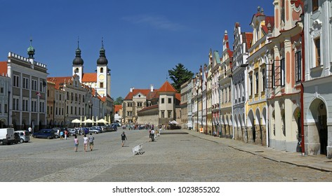 TELC, CZECH REPUBLIC - MAY 1, 2012: Main square with historic houses. The historic center of Telc is a UNESCO World Heritage Site