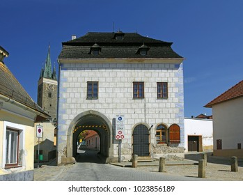 TELC, CZECH REPUBLIC - MAY 1, 2012: Old Upper Gate. The historic center of Telc is a UNESCO World Heritage Site