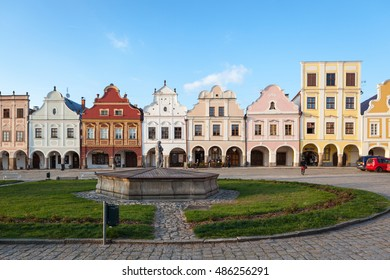 TELC, CZECH REPUBLIC - MAY 11, 2016 - Evening view of Telc or Teltsch town square, Czech republic. world heritage site by UNESCO.