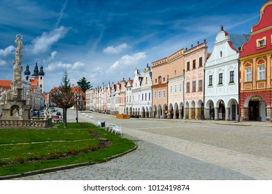 Telc, Czech Republic - May 3, 2017: Colorful architecture at the main square of the historical town of Telc in southern Moravia, Czech Republic.