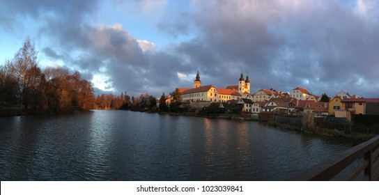 Telc, Czech Republic - November 28 2016: The view of historic castle of Telc