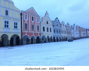 Telc, Czech Republic - November 28 2016: snow covered historic center of Czech town Telc