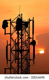 Tele communication tower against sun set background
