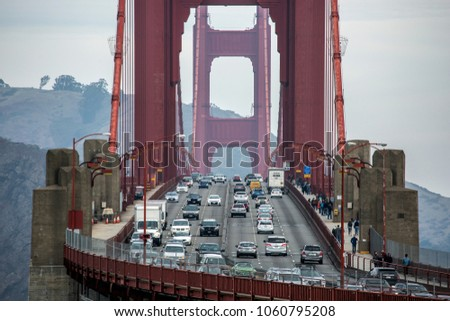 Tele Lens Close-up of Golden Gate Bridge with a lot of traffic