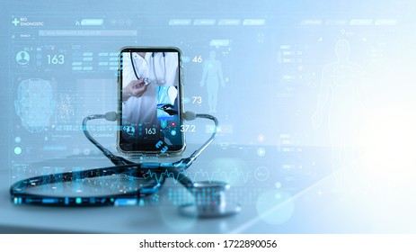 Tele medicine concept,Medical Doctor online communicating the patient on VR medical interface with Internet consultation technology - Shutterstock ID 1722890056