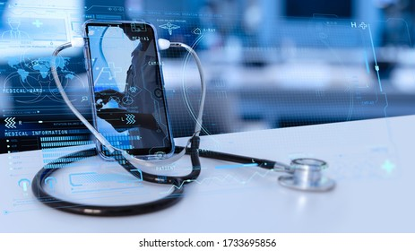 Tele medicine concept,Medical Doctor online communicating the patient on VR medical interface with Internet consultation technology - Shutterstock ID 1733695856