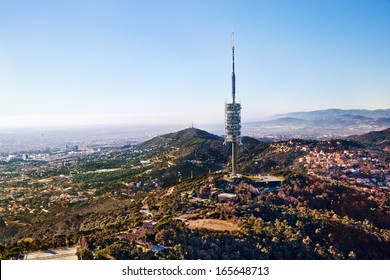 Tele- and radio-transmitter antenna of Barcelona city, view from Tibidabo