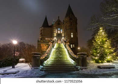 Teleborg Castle at snowy night in Vaxjo, Sweden