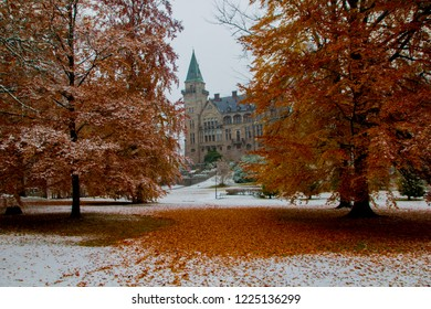 Teleborg Castle in Växjö in Sweden, Smaland during autumn with first snow. Scenic hidden view.