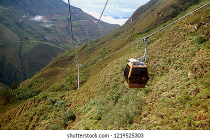 Telecabinas Kuelap or Cable Car on Its Way Back from Kuelap Fortress Archaeological Site in Amazonas Region of Northern Peru