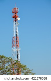 Telecom Communication towers with the blue sky