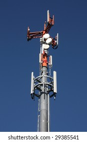 Telecom tower - mast with various antennae. GSM telecommunications.