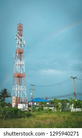 Telecom tower with rainbow blue sky blackground, Technology 2G,3G,4G,5G