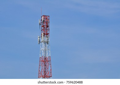 telecom towers, wireless communication systems And the blue sky is beautiful clouds in bright days.