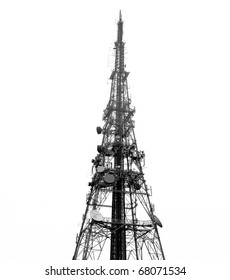 Telecomms tower/mast, isolated on white ground; good copy-space