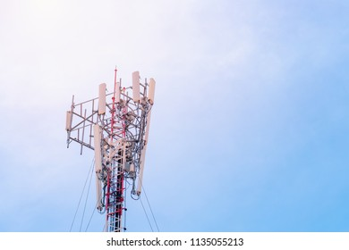 Telecommunication (5G,4G) post with copy space on sky.Digital wireless connection system.Cellular telephone network.Development of communication systems in urban areas.Antenna.