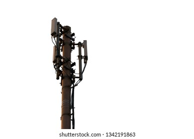 telecommunication antenna with wires isolated on the white background. 3G, 4G and 5G cell site. Base Station or Base Transceiver Station