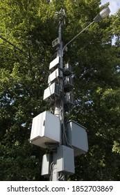 Telecommunication equipment on lightpole. 5G mobile cell