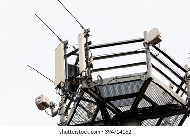 telecommunication equipment on top of antenna tower