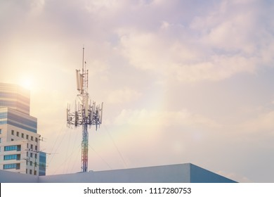 Telecommunication GSM (5G,4G) post on the building.Digital wireless connection system.Cellular telephone network.Development of communication systems in urban areas.Antenna.