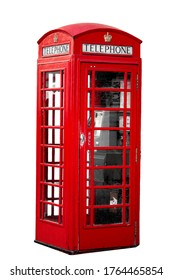 Telecommunication and iconic British items concept with photograph of public telephone box or pay phone booth isolated on a white background with clipping path cutout
