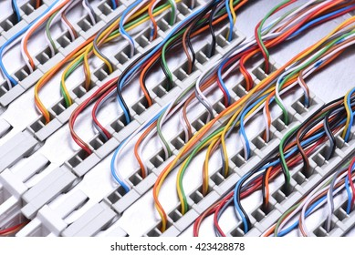 Telecommunication main distribution frame with cables, closeup