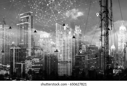 Telecommunication post with connection line icon over city in monochrome tine. Connection technology concept.