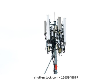 Telecommunication tower of 4G and 5G cellular. Base Station or Base Transceiver Station. Wireless Communication Antenna Transmitter. Telecommunication tower with antennas isolated on white background.