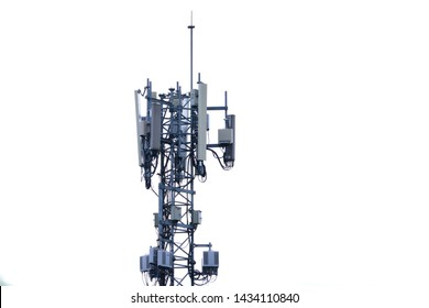 Telecommunication tower of 4G and 5G cellular. Base Station or Base Transceiver Station. Wireless Communication Antenna Transmitter. Telecommunication tower with antennas .